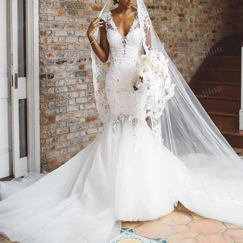 South African Mermaid Wedding Dresses 2021 V Neck Beaded Appliqued Lace Bridal Gowns Vestido De Novia Plus Size Designer Wedding