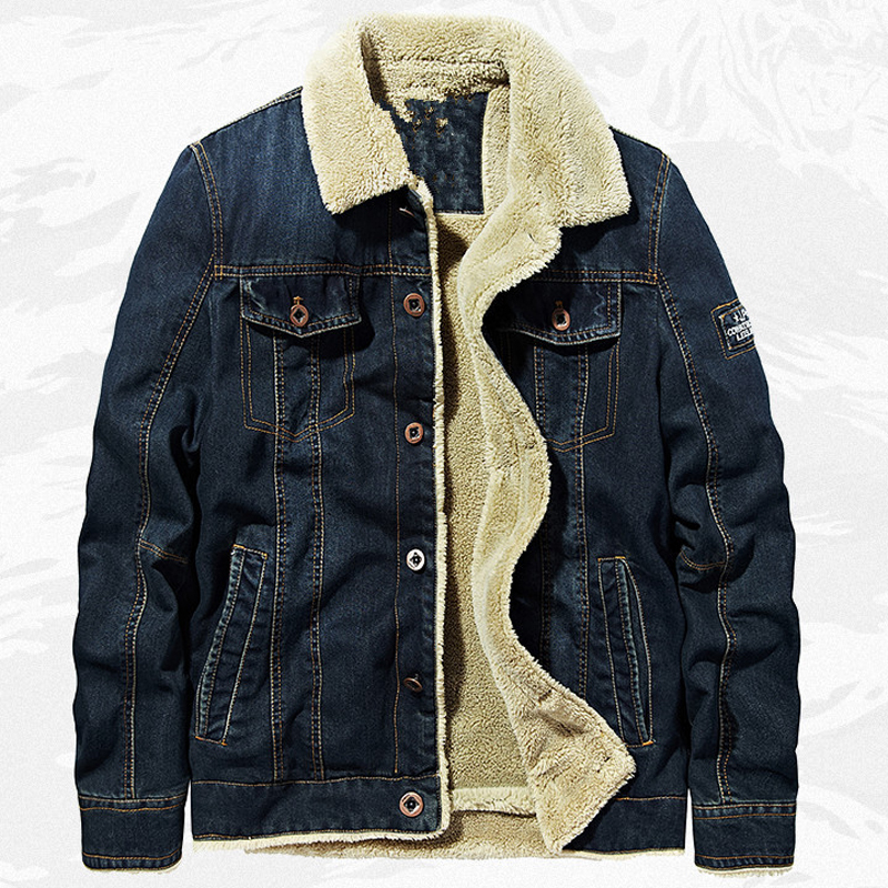 2020 <font><b>Winter</b></font> Warm <font><b>Military</b></font> Fur <font><b>Jacket</b></font> Denim Coat Mens 6XL European American <font><b>Style</b></font> Velvet Warm Overcoats Army Man Jeans Coats A875 image