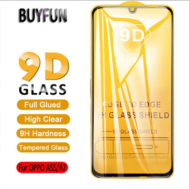 9D Full Glue Tempered Glass For OPPO A5s Protective Glass For OPPO A7 A 7 A 5s A5 S Screen Protector 9H Hardness Full Cover Film