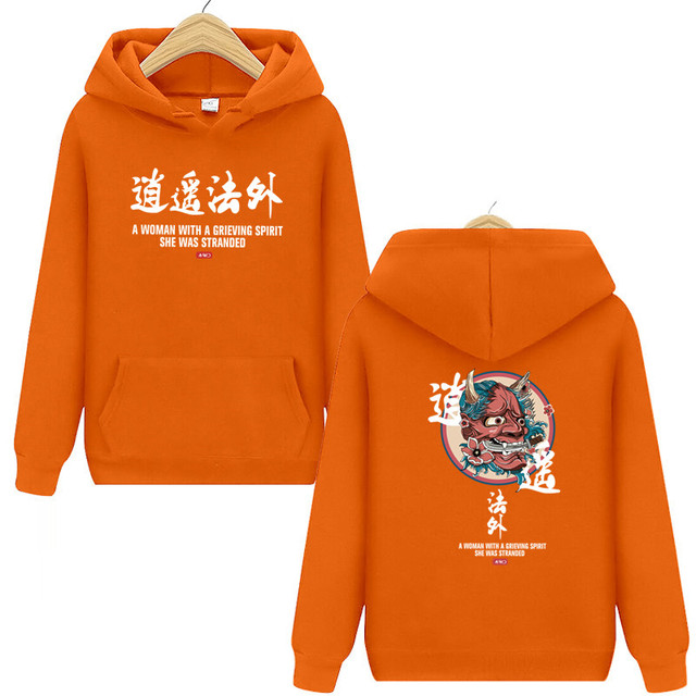 Brand New Designer Japanese Chinese Style Hoodies Streetwear Sweatshirt Hip Hop Evil Devil Printed Cotton Men Hip Hop Streetwear 4