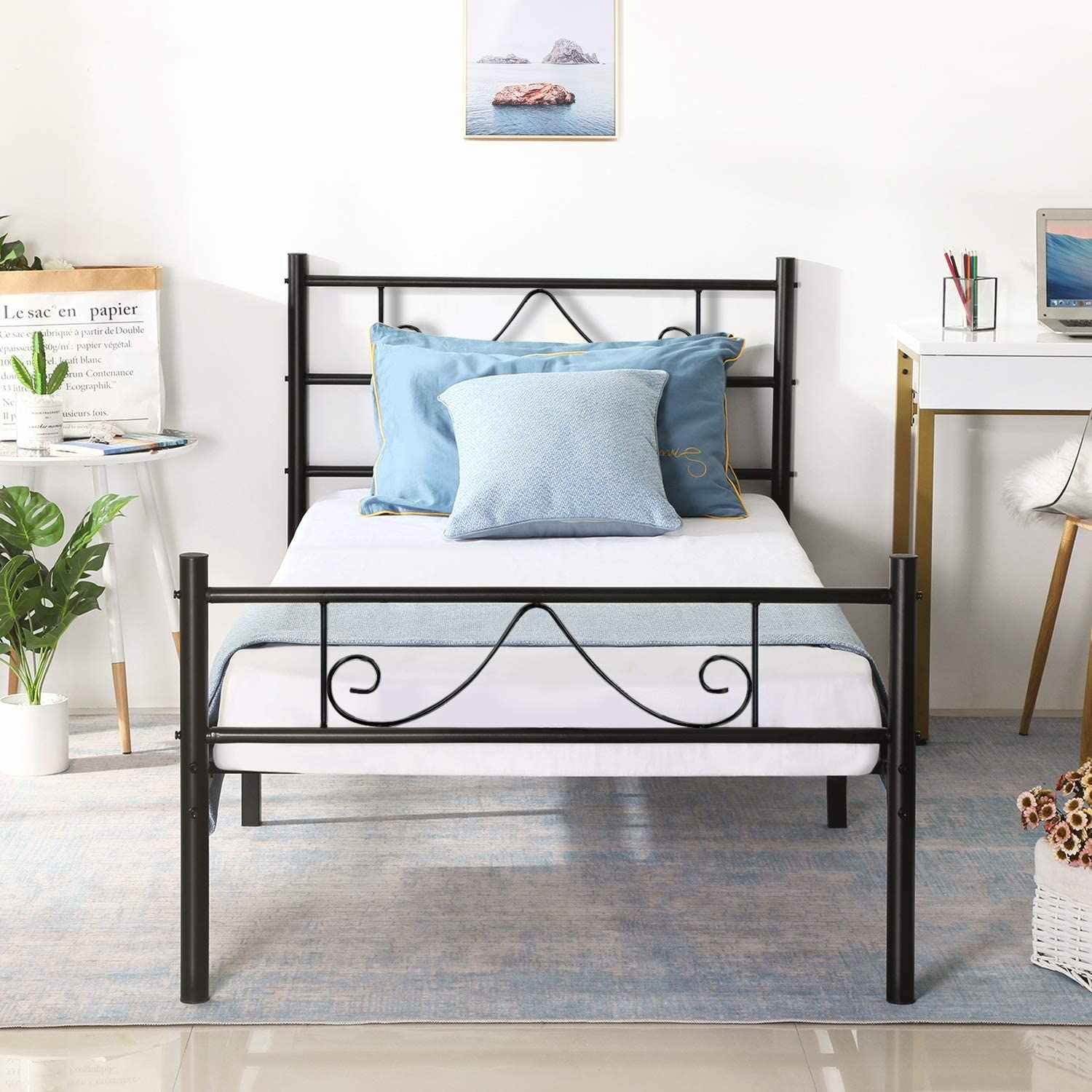 Picture of: Metal Bed Frame Twin Full Steel Platform Bed Headboard Footboard Support Large Storage Space For Teenage Adults Children Bedroom Aliexpress