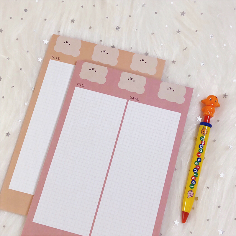 50Sheets/Lot Kawaii Korean INS Cute Bear A5 Grid Memo Pad N Times Sticky Notes Portable Notepad School Office Supply