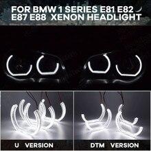يوم ضوء LED مجموعة عيون الملاك قطع نمط خاتم على شكل هالة DTM U شكل ضوء أبيض لسيارات BMW 1 سلسلة E81 E82 E87 E88 2004 2012 زينون