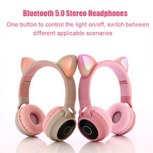 Cat Ear Fantasy Elf Bluetooth 5.0 Earphone Wireless Earbuds Noise Cancelling With Mic Girls Kids Cute Headset Support TF Card(China)