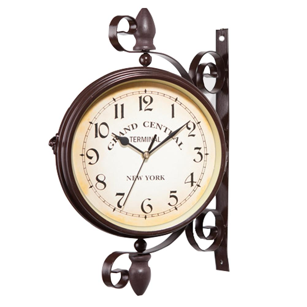European Style Double Sided Round Wall-Clock Vintage Design Mount Station Wall Watch Garden Retro Clock Home Decor Metal Frame