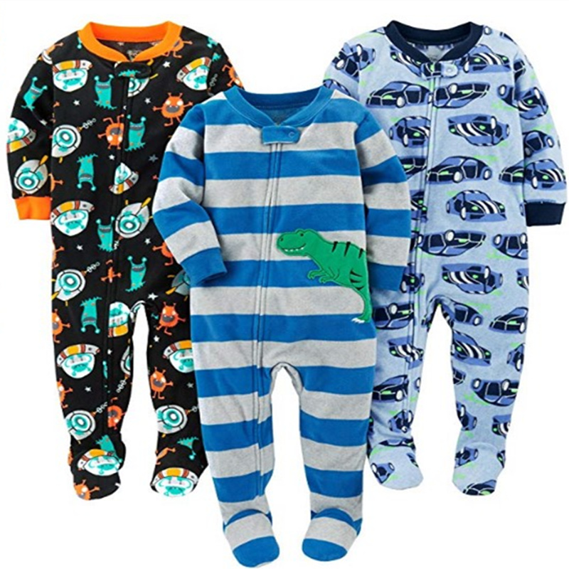 Children's fleece boy girl large size Siamese romper with feet Siamese clothes Harbin warm pajamas spring and autumn and winter 1