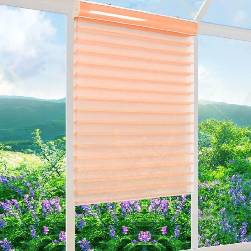 Китайский поставщик корейский стиль полиэстер двойной слой для Шангри-ла штора Сделано на заказ легко установить