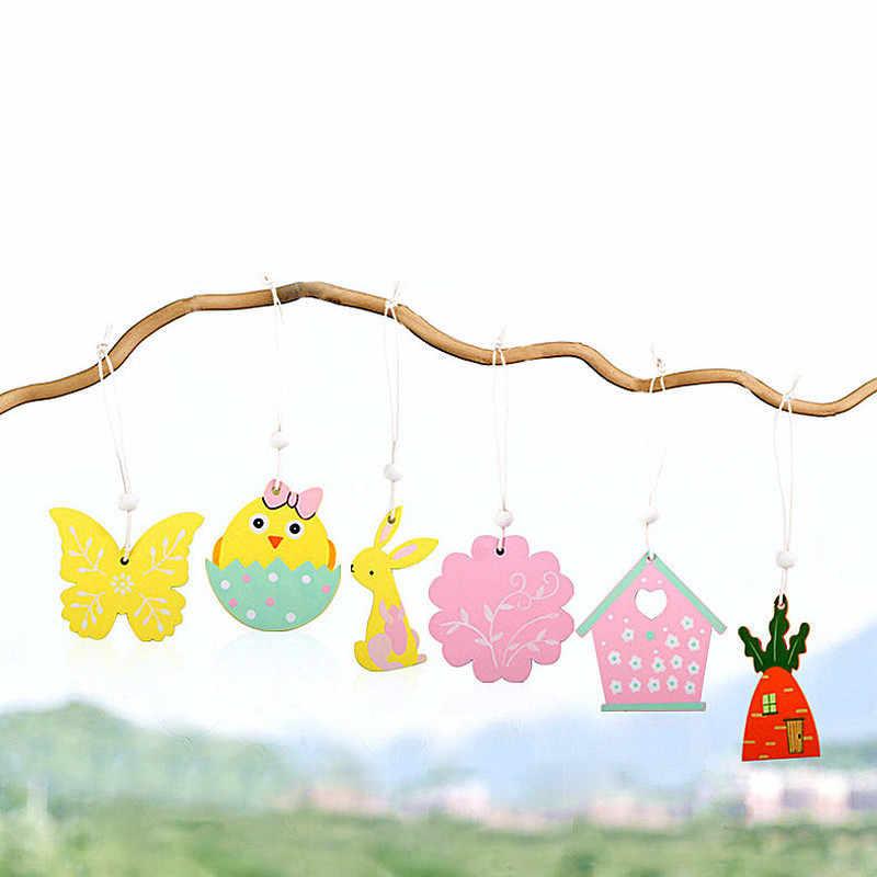9 個イースターウサギの木製ペンダント装飾 diy 木工芸かわいいバニーイースター装飾パーティー用品木製工芸品のギフト