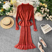 Nicemix Autumn Solid Wanita Dua Potong Rompi Rajut Top Renda Patchwork Lengan Panjang Bodycon Vestidos Sweater Set(China)