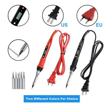 80W Electric Soldering Iron Adjustable Temperature LCD Digital Display 110V 220V Welding Solder Iron Tips Repair Rework Tool Kit free shipping wit w802 digital lcd adjustable temperature electric soldering station electric soldering iron 110v 220v 80w
