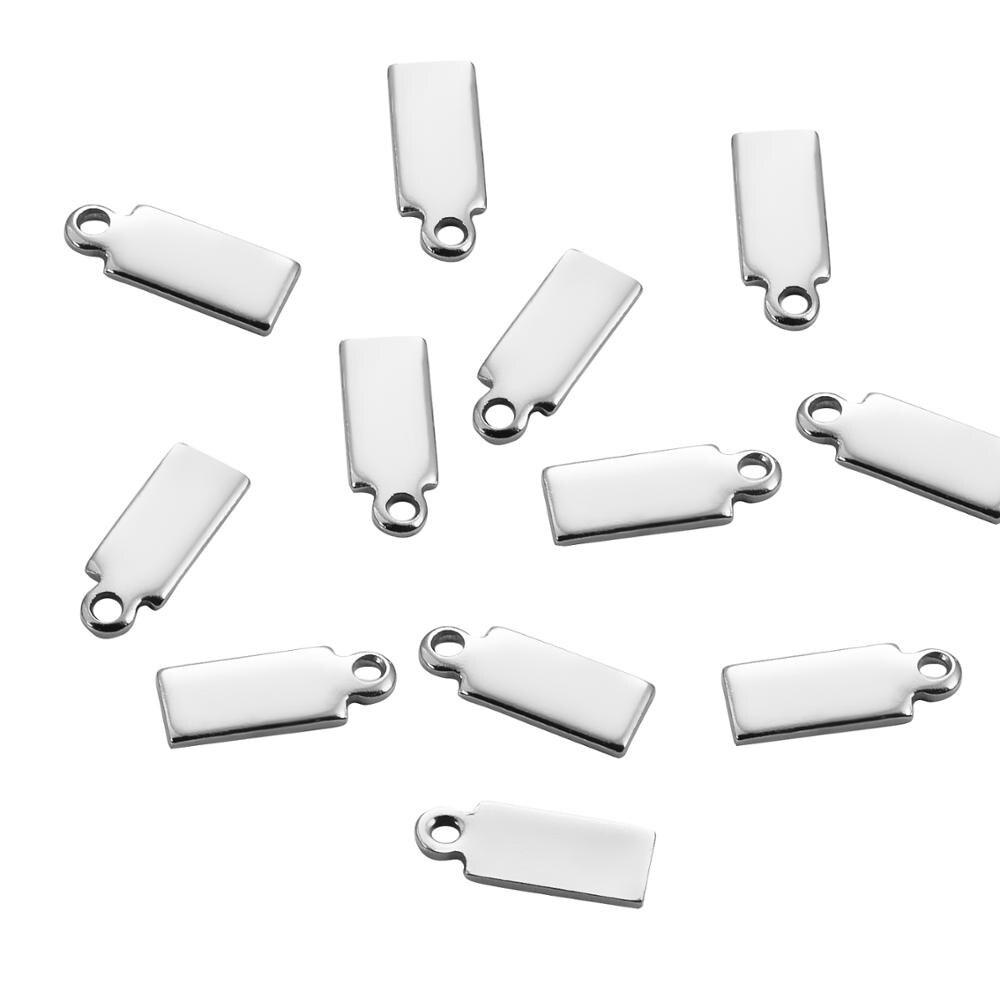 Étiquette de Rectangle dacier inoxydable de 25 pièces pour la fabrication de bijoux à breloques de bricolage pour le collier de Bracelet 10*4mm