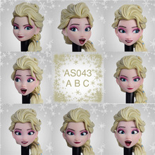 AS043A/AS043B 1/6 In Stock Female Girl Elsa Head Sculpt with Movable Eyes Golden Hair Model for 12'' TBLeague Suntan Figure Body