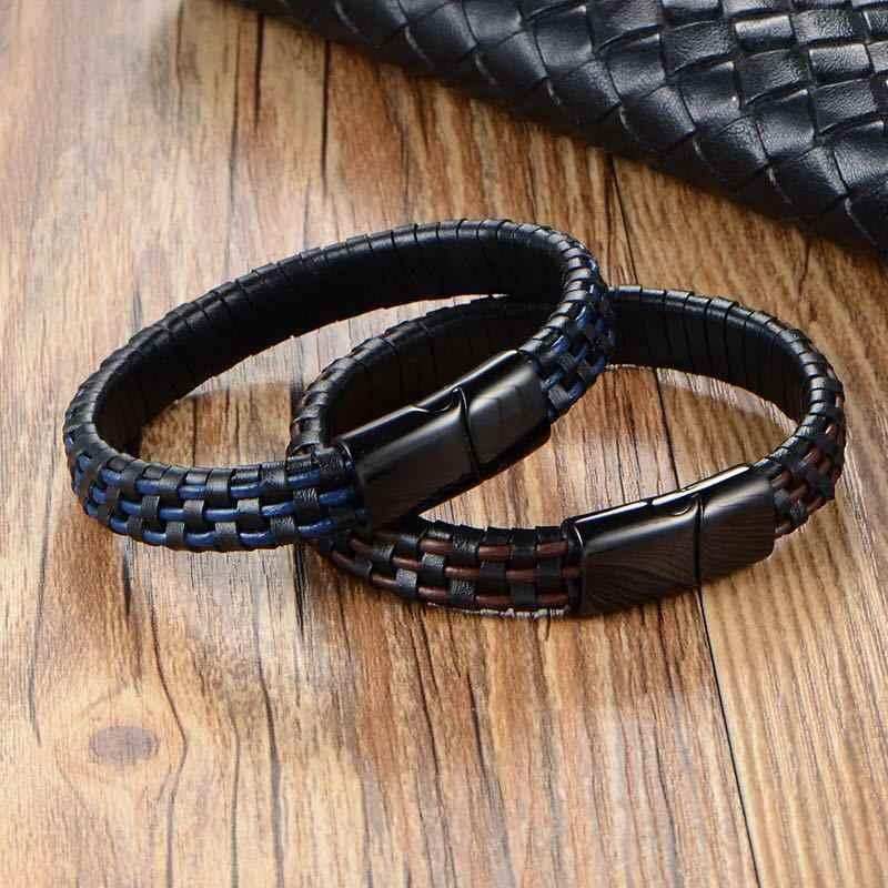 Нержавеющая стальной кожаный браслет 2019 персонализированные мужские плетеные браслеты на запястье пользовательские мужские из воловьей кожи 18 мм кнопки ювелирные изделия
