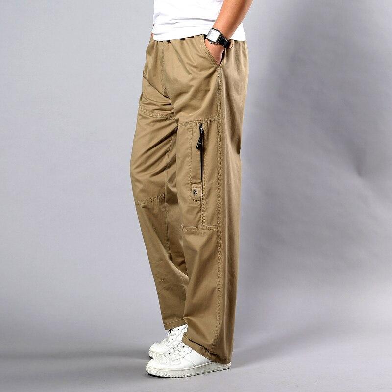 Summer Autumn Men Pants Casual Cotton Long Pants 2019 Straight Joggers Homme Big Size 5XL Business Work Breathable Trousers Men
