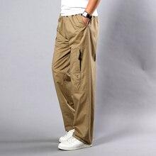 Yaz sonbahar erkek pantolon rahat pamuk uzun pantolon 2020 düz Joggers Homme büyük boy 5XL İş nefes pantolon erkekler
