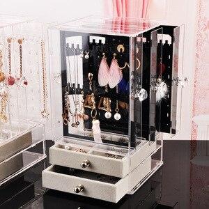 Multifunctional Transparent Jewelry Box Household Jewelry Storage Dustproof Earrings Storage Box Desktop Vertical Storage Rack