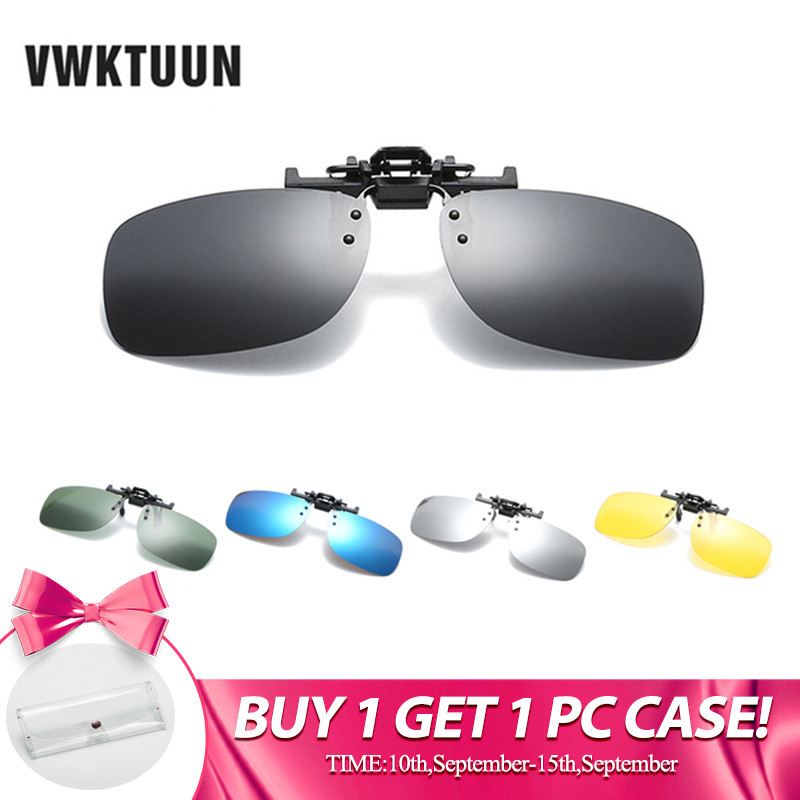 VWKTUUN Square Polarized Clip On Sunglasses Women Men Oversized Sun Glasses Driving Polarized Night Vision Yellow Points UV400 in Men 39 s Sunglasses from Apparel Accessories