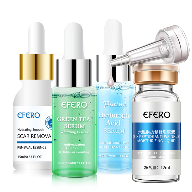 Hyaluronic Acid Anti Aging Face Serum Moisturizing Whitening Shrink Pores Skin Care Green Tea Essence Face Serum Acne Treatment
