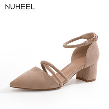 NUHEEL women's shoes new summer thick heel gentle fairy style high heels fashion wild pointed toe shoes women туфли женские