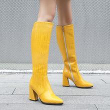Женские высокие сапоги на молнии fanyuan зимние теплые до колена