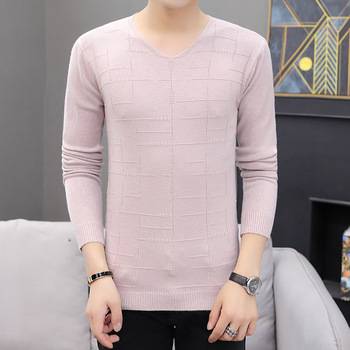 цена на Mens Sweaters Long Sleeve Fashion V-Neck Low Collar Sweater Men Casual Knitting Thin Sweaters Pullover Clothing Men Sweater