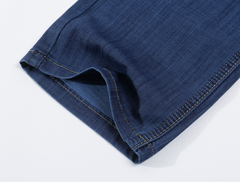 Mens Jeans Summer Ultrathin Blue Business Casual Cotton Straight Classic Comfortable Full Length