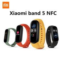 Xiaomi Mi 5 NFCบลูทูธ5.0กันน้ำMiband5สร้อยข้อมือสมาร์ท4หน้าจอAMOLED Heart Rate Fitness Tracker Mi Band