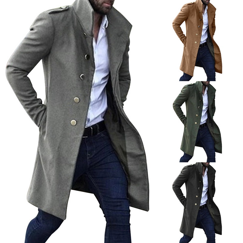 2020 Vintage Men's Long Overcoat Autumn Solid Color Rtro Long Trench Jacket Coat Male Single Breasted Business Casual Outwear