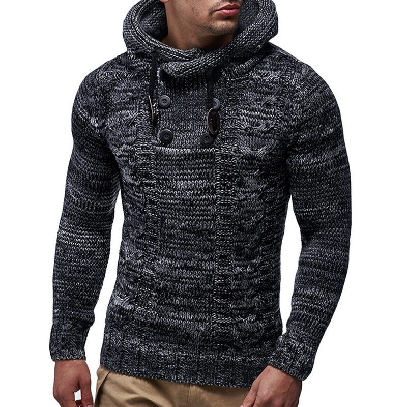 DIHOPE Autumn Winter Men's Hooded Sweaters Male Sweaters Cotton Jumper Man Fashion Casual Gray Wine Slim Mens Sweaters Hombre