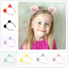 Sweet girls beautiful hairband headpieces rabbit ears plush ball big hair head hoop hair accessories Tiara for children. 1pcs(China)