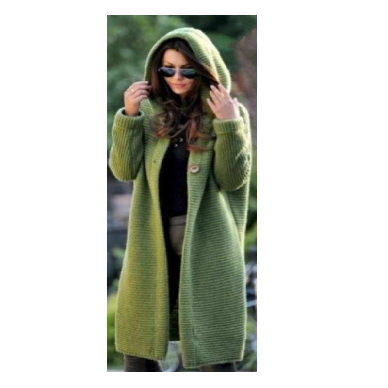 Lengthen Extra-large Ebaywish Mid-length Sweater New Style Cardigan Hooded Jacket W103