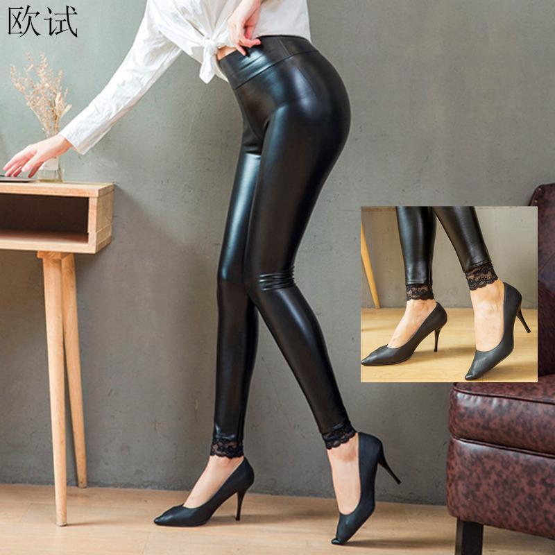 Plus Size Lace Sexy Black Shiny Leggings Women High Waist PU Leather Hot Pants Woman Leren Legging Fashion 2019 Winter Trousers