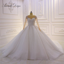 Amanda Design hochzeit Crystal Bling Bling Sparkle Wedding Dress with Sleeves