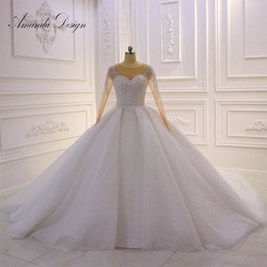 Image 1 - Amanda Design hochzeit Crystal Bling Bling Sparkle Wedding Dress with Sleeves