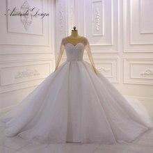 Amanda ออกแบบ hochzeit คริสตัล Bling Bling Sparkle งานแต่งงานแขนยาว