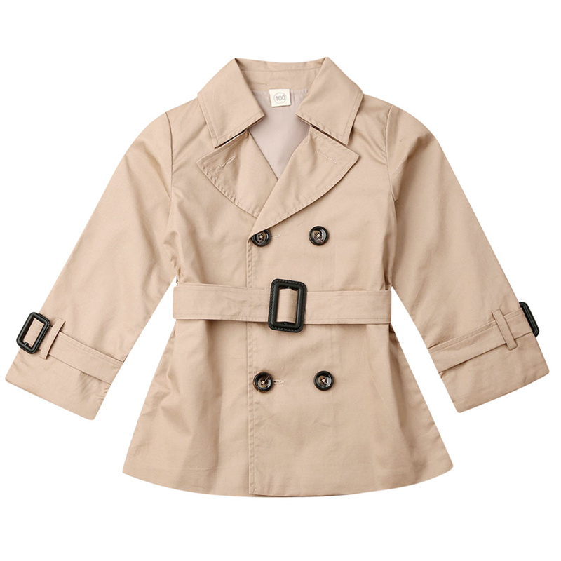 Boys Kids Soild Double-breasted Belted Trench Long Parkas Coat Jacket Slim Fit