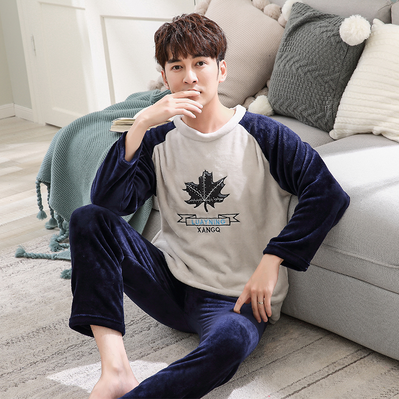 Free Shipping Winter New Thick Warm Pyjamas Men Flannel Pajama Set Long Sleeve Casual Plus Size L-3XL Pijamas For Male Nightwear