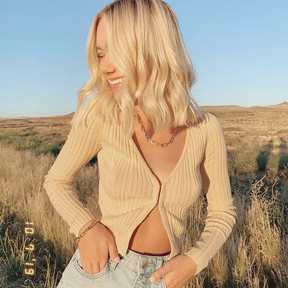 Autumn Women Warm Knit Sweater Long Sleeve Cardigans Sexy V-Neck Crop Tops Fashion Beige Sweater Causal Plain Color Cardigan