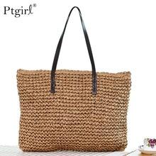 Women Handbag Summer Beach Bag Rattan Woven Handmade Knitted Straw Large Capacity Totes Leather Ptgirl HandBags Bohemia New Bags недорого