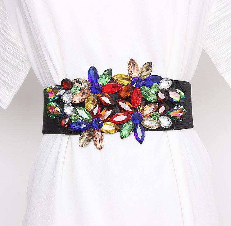Women's Runway Fashion Rhinestone Beaded Elastic Cummerbunds Female Dress Corsets Waistband Belts Decoration Wide Belt R2968