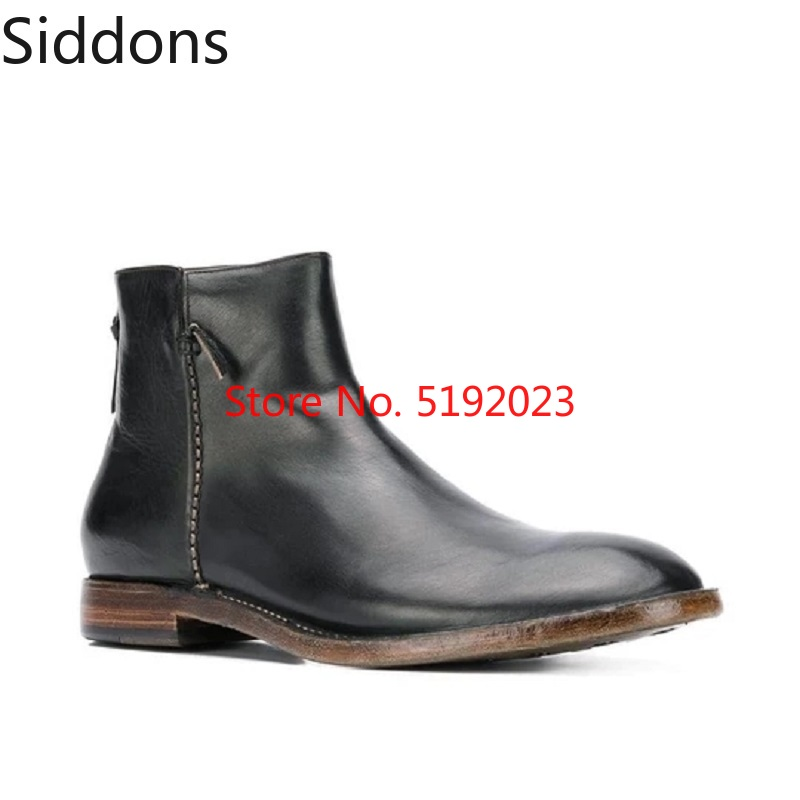 Winter Fashion Slip-on Waterproof Ankle Chelsea Boots PU Leather Boots Mens Footwear Fashion Male Casual Zapatos De Hombre D162