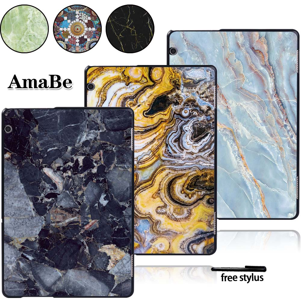 Print For Huawei Media Pad T5 10 AGS2-L09/W09/L03 -  Plastic Marble Pattern Hard Shell Case Cover Protective