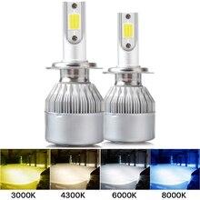 2X C6 H1 H3 Led 전조등 전구 H7 LED 자동차 조명 H4 H11 HB3 9005 HB4 9006 H13 6000K 3000K 8000k 화이트 블루 옐로우 자동 안개 램프