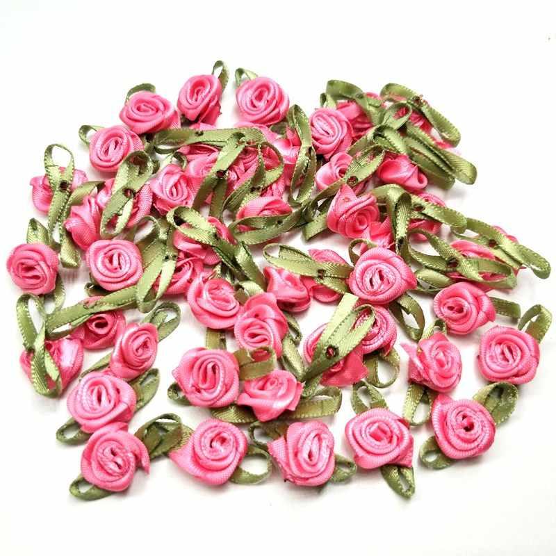 HL 50PCS מיני פרחים מלאכותיים ראשי להפוך סאטן סרט ורדים בעבודת יד DIY מלאכות לחתונה קישוט אפליקציות