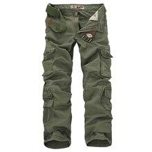 אופנה מכנסיים מטען צבאיים גברים Loose בבאגי טקטי מכנסיים Oustdoor מקרית כותנה מכנסיים מטען גברים רב כיסי גדול גודל
