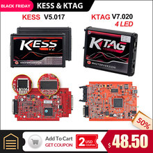KESS v2 V5.017 outil de programmation rouge OBD 2 ECU sans limite de jeton KTAG V7.020 V2.47 4 LED(China)