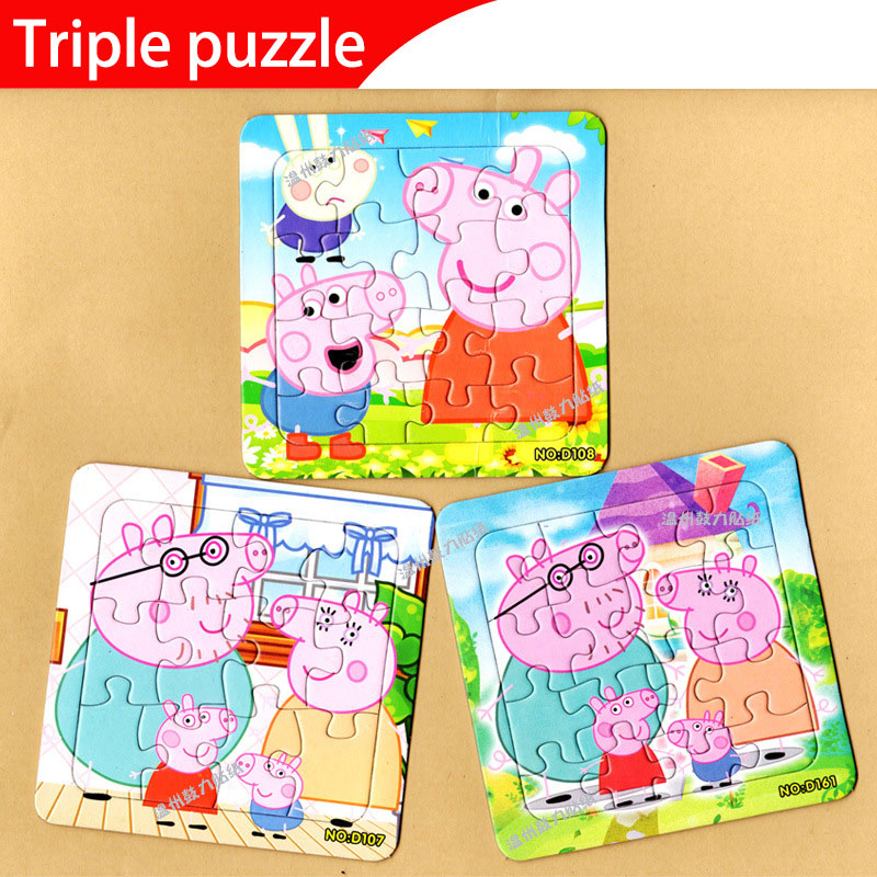 Peppa Pig Kids Toy Children's Babies Early Childhood Education Puzzle Paper Toys Jigsaw Puzzle Gifts Toys For Children 14*14cm