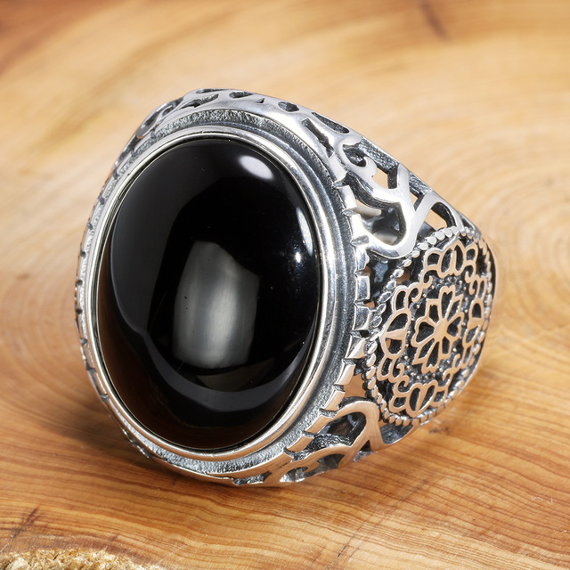 Naprawdę twarde 925 Sterling Silver czarny pierścień mężczyźni Vintage wydrążone kwiaty pierścienie otwarty naturalny onyks kamień duży owalny kształt biżuteria męska