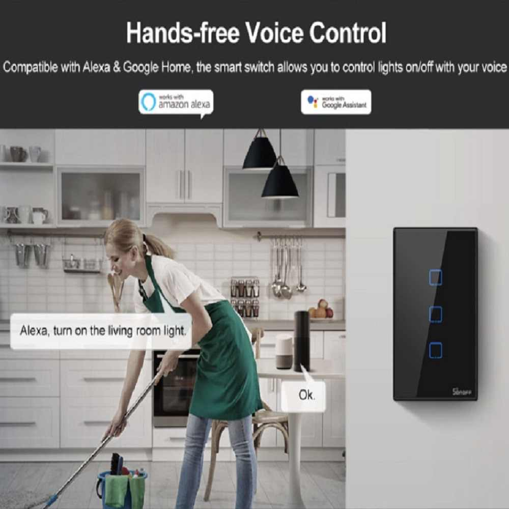 Soporte Control de 433Mhz RF//Control Remoto de App//Control T/áctil Sincronizaci/ón SONOFF 2CH Interruptor T/áctil de Pared WiFi Compatible con Google Home//Nest//Alexa Interruptor de Pared Inteligente