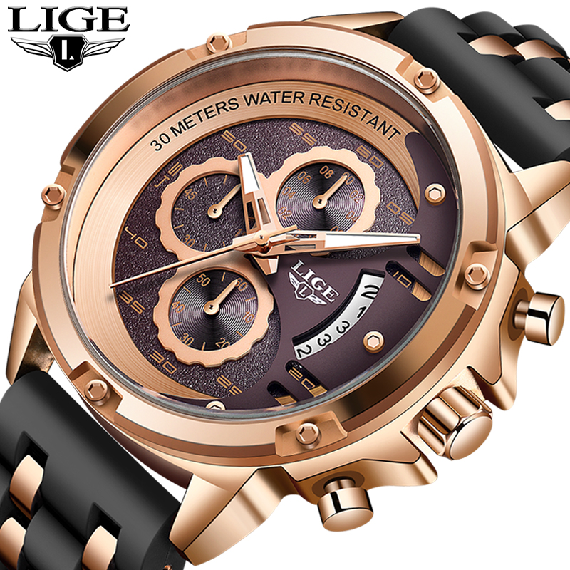 LIGE 2020 New Military Watches Mens Top Band Luxury Waterproof Quartz Wristwatch Chronograph Clock Male Fashion Sport Wristwatch
